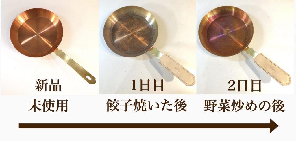 銅フライパンameiroを実際使ってみて、色の変化を写真にとって比較しました。