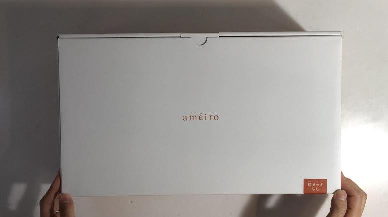 銅フライパンameiroが届いた箱の写真です。